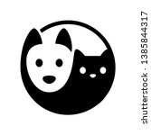 Stock vector cat and dog yin yang symbol simple minimal cartoon white dog and black cat face isolated vector 1385844317