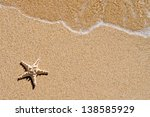starfish and wave on the sandy...