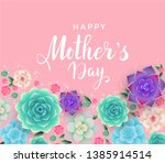 mother's day beautiful floral... | Shutterstock .eps vector #1385914514