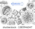 scandinavian cuisine top view... | Shutterstock .eps vector #1385946347
