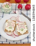 bread with fresh cheese and... | Shutterstock . vector #138594845