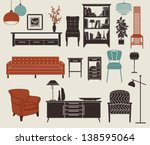 furniture and home accessories  ... | Shutterstock .eps vector #138595064