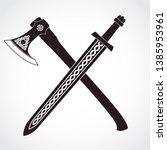 crossed viking ornamental sword ...   Shutterstock .eps vector #1385953961
