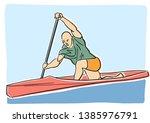 canoe or kayak rowing. single... | Shutterstock .eps vector #1385976791