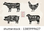 set of meat diagrams. cuts of...   Shutterstock .eps vector #1385999627