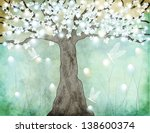 flowering tree   hand drawing... | Shutterstock .eps vector #138600374