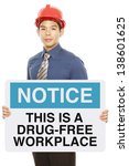 a man holding a notice sign...   Shutterstock . vector #138601625