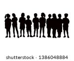 children in line  silhouette... | Shutterstock .eps vector #1386048884