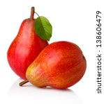 Ripe Red Pear Fruits With Gree...