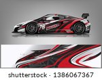 sport car racing wrap design.... | Shutterstock .eps vector #1386067367