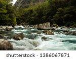 stony stream in new zealand... | Shutterstock . vector #1386067871