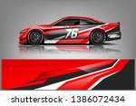 rally car wrap vector designs.... | Shutterstock .eps vector #1386072434