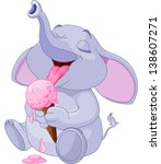 cute baby elephant eating ice... | Shutterstock .eps vector #138607271