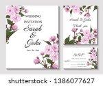 wedding invitation with branch  ... | Shutterstock .eps vector #1386077627