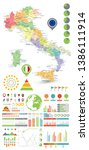 italy map and infographics... | Shutterstock .eps vector #1386111914