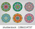decorative round ornaments set  ... | Shutterstock .eps vector #1386114737