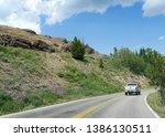 wyoming  usa  july 2018  scenic ... | Shutterstock . vector #1386130511