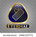 gold badge with keyboard icon...   Shutterstock .eps vector #1386133751