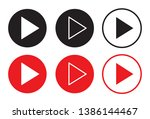 red and black play button set.... | Shutterstock .eps vector #1386144467