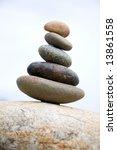 zen like stones stack on the... | Shutterstock . vector #13861558
