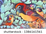 the family of colorful birds... | Shutterstock . vector #1386161561