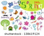 hello spring  set of vector... | Shutterstock .eps vector #138619124