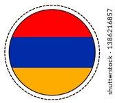 armenia flag sticker on white...   Shutterstock .eps vector #1386216857