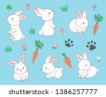 Stock vector various poses of white bunny 1386257777