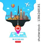 travel banner design with... | Shutterstock .eps vector #1386268181