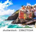 Riomaggiore,  one of the five famous coastal village in the Cinque Terre National Park, Liguria, Italy - stock photo