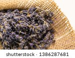 lavender bouquet wrapped in... | Shutterstock . vector #1386287681