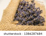 lavender bouquet wrapped in... | Shutterstock . vector #1386287684