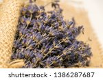 lavender bouquet wrapped in... | Shutterstock . vector #1386287687