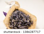 lavender bouquet wrapped in... | Shutterstock . vector #1386287717