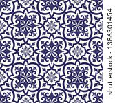 mexican tile pattern vector...   Shutterstock .eps vector #1386301454