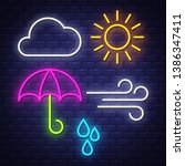 weather neon signs collection.  ... | Shutterstock .eps vector #1386347411