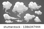 set of stylized white clouds.... | Shutterstock .eps vector #1386347444