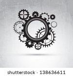 black gear over vintage...   Shutterstock .eps vector #138636611