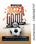 poster with soccer ball and... | Shutterstock .eps vector #1386368747