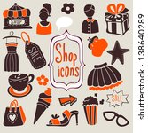 "vector cute set ""shopping icons""... | Shutterstock .eps vector #138640289"
