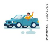human driving car. happy young... | Shutterstock .eps vector #1386416471