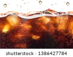 cola splashing background with... | Shutterstock . vector #1386427784