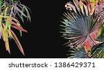 tropical leaves banner  floral...   Shutterstock . vector #1386429371