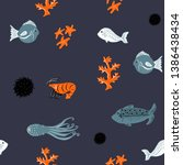 vector sea and corals pattern   Shutterstock .eps vector #1386438434