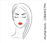 beautiful woman with red lips.... | Shutterstock .eps vector #1386441794