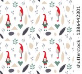 vector christmas gnomes in red...   Shutterstock .eps vector #1386442301