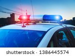 Police Car On The Street Close...