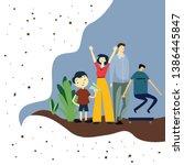 happy family day cartoon 2 d... | Shutterstock .eps vector #1386445847