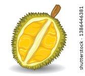 durian fruit on white... | Shutterstock .eps vector #1386446381