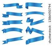 set of blue ribbon banner icon... | Shutterstock .eps vector #1386450794